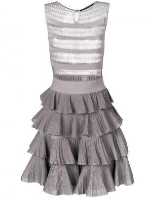 Платье с оборчатой юбкой Antonino Valenti. Цвет: серый