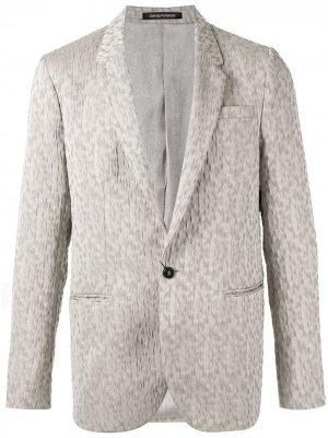 Блейзер с вышивкой Emporio Armani. Цвет: серый