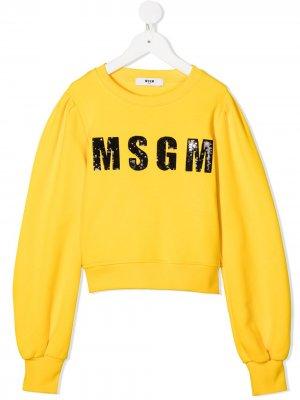Свитер с логотипом из пайеток Msgm Kids. Цвет: желтый