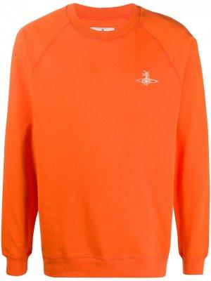 Толстовка с вышивкой Vivienne Westwood. Цвет: оранжевый
