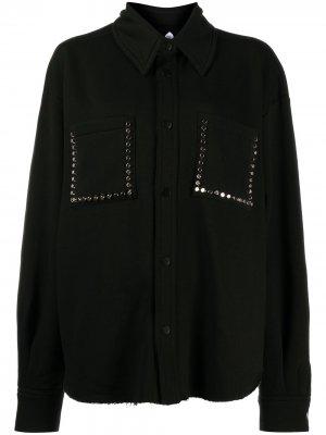 Рубашка оверсайз с заклепками Natasha Zinko. Цвет: черный