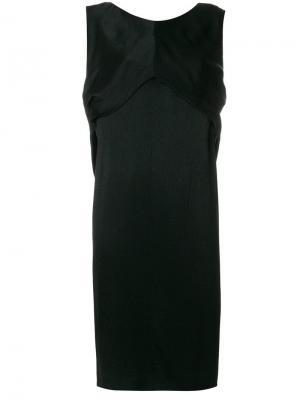 Многослойное прямое платье Balenciaga Vintage. Цвет: черный