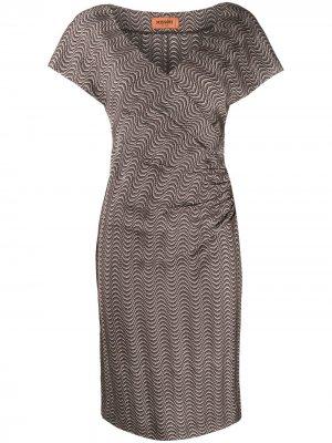 Платье миди с вышивкой Missoni. Цвет: коричневый