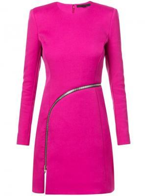 Короткое платье на молнии Alexander Wang. Цвет: розовый