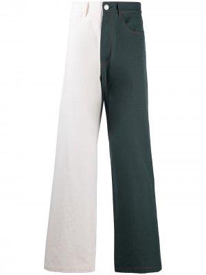 Двухцветные джинсы широкого кроя Marni. Цвет: нейтральные цвета