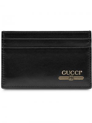 Визитница с логотипом Gucci. Цвет: черный