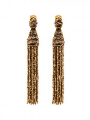 Длинные серьги Champagne с кисточками Oscar de la Renta. Цвет: золотистый