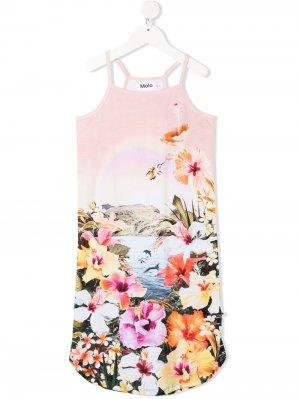 Приталенное платье мини с цветочным принтом Molo. Цвет: розовый