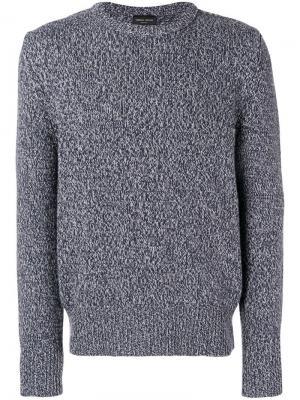 Трикотажный свитер с круглым вырезом Roberto Collina. Цвет: синий