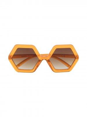 Солнцезащитные очки в шестиугольной оправе Molo. Цвет: оранжевый