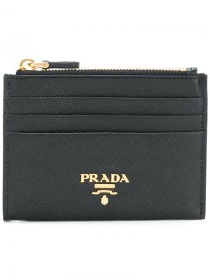 Визитница с логотипом Prada. Цвет: черный
