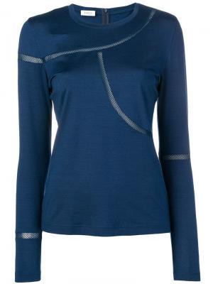 Приталенная футболка с сетчатой отделкой Akris Punto. Цвет: синий
