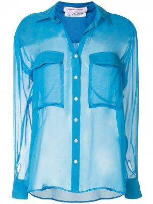 Прозрачная блузка с длинными рукавами Carolina Herrera. Цвет: синий