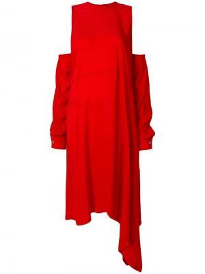 Платье с асимметричным подолом Marios. Цвет: красный