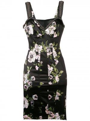 Flowers stud-embellished dress Philipp Plein. Цвет: черный