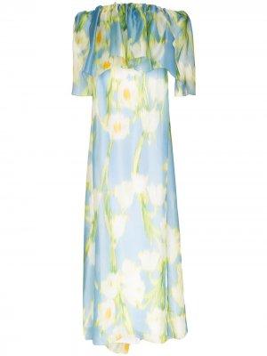 Платье с открытыми плечами и оборками Carolina Herrera. Цвет: синий