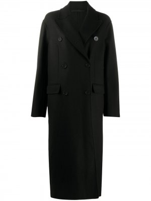 Двубортное пальто миди Ann Demeulemeester. Цвет: черный