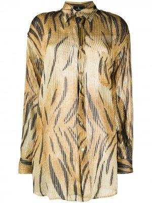 Плиссированная рубашка с принтом Etro. Цвет: золотистый
