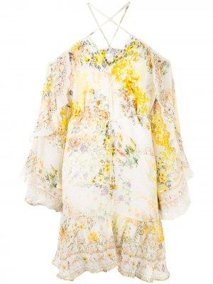 Платье с оборками на рукавах Camilla. Цвет: белый