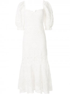 Платье Eden с пышными рукавами Jonathan Simkhai. Цвет: белый