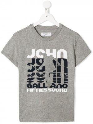 Футболка с логотипом John Galliano Kids. Цвет: серый