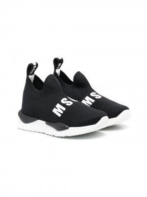 Кроссовки-носки с логотипом MSGM Kids. Цвет: черный