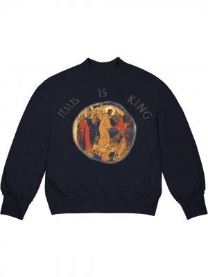 Толстовка Jesus Is King с круглым вырезом Kanye West. Цвет: синий