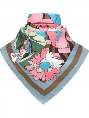 Шейный платок с цветочным принтом Fendi. Цвет: коричневый