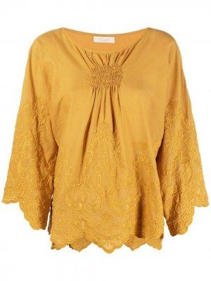Блузка с вышивкой Mes Demoiselles. Цвет: оранжевый