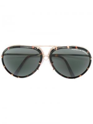 Солнцезащитные очки в круглой оправе Porsche Design. Цвет: коричневый
