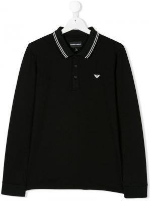 Рубашка-поло с принтом логотипа Emporio Armani Kids. Цвет: черный