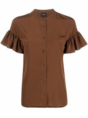 Блузка с оборками на рукавах Aspesi. Цвет: коричневый