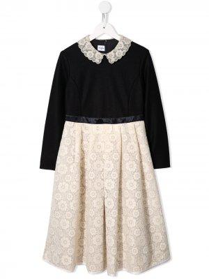 Платье из джерси с кружевным подолом Familiar. Цвет: черный