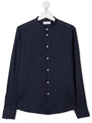 Рубашка с воротником-стойкой Paolo Pecora Kids. Цвет: синий