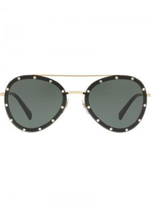 Солнцезащитные очки-авиаторы с кристаллами Valentino Eyewear. Цвет: золотистый