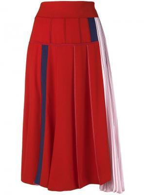 Colour-block flared skirt Sportmax. Цвет: красный