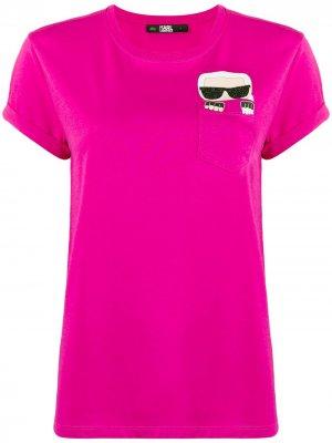 Футболка Ikonik Karl Lagerfeld. Цвет: розовый