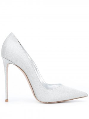 Туфли-лодочки на шпильке с заостренным носком Le Silla. Цвет: серебристый