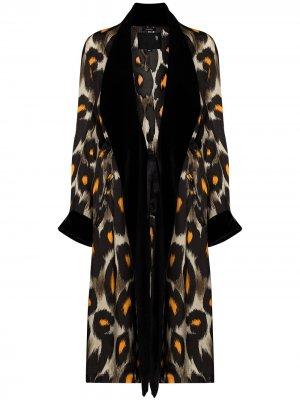 Пальто с леопардовым принтом R13. Цвет: коричневый