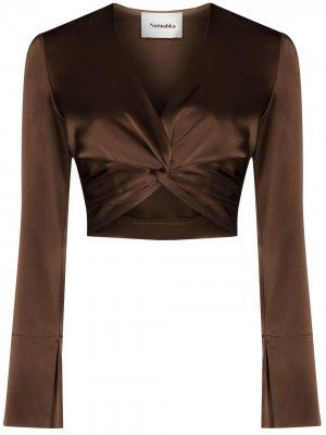Укороченная блузка Ula с V-образным вырезом Nanushka. Цвет: коричневый