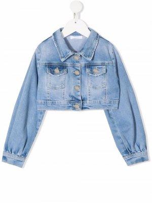 Укороченная джинсовая куртка Miss Grant Kids. Цвет: синий