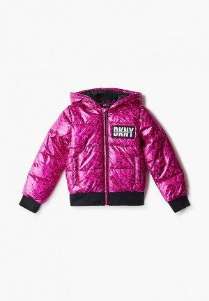 Куртка утепленная DKNY. Цвет: розовый