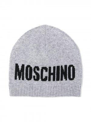 Трикотажная шапка с логотипом Moschino Kids. Цвет: серый