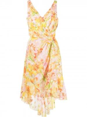 Платье миди с цветочным принтом Marchesa Notte. Цвет: разноцветный