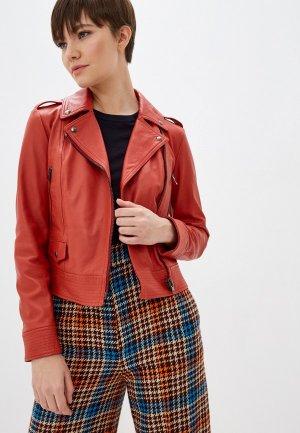 Куртка кожаная Blouson. Цвет: красный
