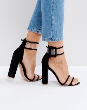 5d809ae41 Черные босоножки на каблуке с прозрачными ремешками Public Desire. Цвет:  черный