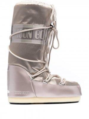 Дутые сапоги со шнуровкой Moon Boot. Цвет: коричневый