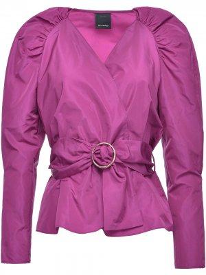 Блузка с V-образным вырезом и поясом Pinko. Цвет: розовый