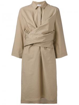 Платье миди с запахом Brunello Cucinelli. Цвет: нейтральные цвета