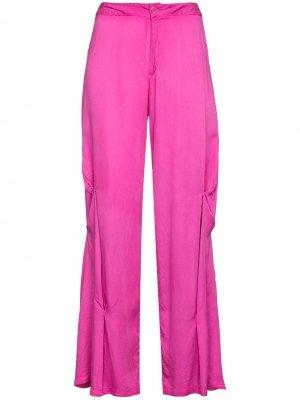 Расклешенные брюки с драпировкой Collina Strada. Цвет: розовый